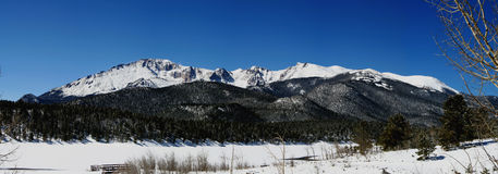Pikes Peak Panoramic. Panoramic landscape of Pikes Peak in Colorado Springs Stock Photo