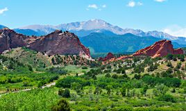 Red rocks in Garden of the Gods and Pikes Peak in Colorado Springs Colorado royalty free stock photos