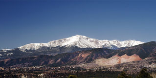 Pikes Peak & the Scar. Pikes Peak as seen from 1-25 in Colorado Spirngs including the quarry scar Royalty Free Stock Photo