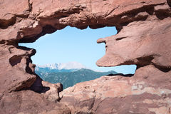 Pikes Peak Through The Siamese Twins, Garden Of The Gods, CO Royalty Free Stock Images