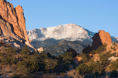 Pikes Peak Sunrise. Pikes Peak at Sunrise as seen from the Garden of the Gods Stock Photos