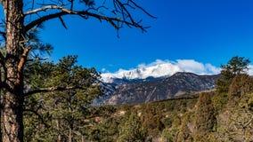 Pikes Peak a través de los pinos fotos de archivo