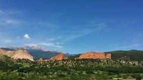 Pikes Peak und Garten der Götter Colorado stockbild