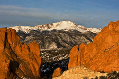 Pikes Peak View. Pikes Peak between the Garden of the Gods rock formation in Colorado Springs, Colorado Royalty Free Stock Images