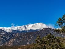 Pikes Peak in the Winter stock photos
