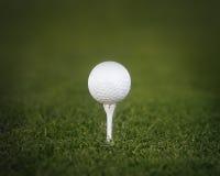 Piłki golfowej trójnik strzelająca zielona trawa Zdjęcia Stock