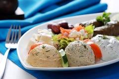 Pikilia vegetariano griego de la mezcla de la comida imagen de archivo