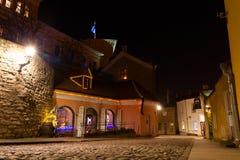 Pikk Jalg street at night, Tallinn Royalty Free Stock Photography