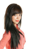 Piękna brunetka patrzeje kamerę, zbliżenie Obrazy Royalty Free