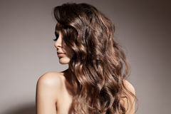 Piękna brunetki kobieta. Kędzierzawy Długie Włosy. Zdjęcia Stock