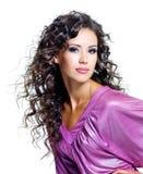 piękna brunetki twarzy kobieta Zdjęcia Royalty Free