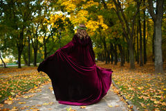 Piękna dziewczyna z lampionem w strasznym jesieni drewnie Fantazja i Halloween wizerunek Costumed kobieta w parkowym outside Obrazy Stock