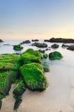 Spokojna plażowa scena w miękkim świetle Zdjęcia Stock