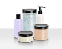Piękna i wellness produkty odizolowywający Zdjęcie Stock