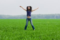 piękna kobieta grassfield Obraz Stock