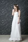 Piękna kobieta w białej ślubnej sukni Obraz Stock