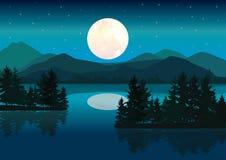 Piękna księżyc, Wektorowy ilustracja krajobraz Obraz Stock