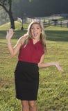 Piękna młoda biznesowa kobieta na gospodarstwie rolnym Obraz Royalty Free