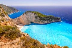 Piękna Navagio plaża na Zakynthos wyspie Zdjęcia Royalty Free