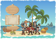 Piękna tropikalna wyspa z kreskówka piratami Obrazy Stock