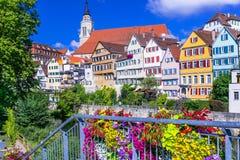 Piękna Tubingen wioska, kwiecista dekoracja, Niemcy Obrazy Royalty Free