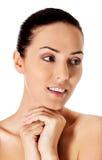 Piękna twarz młoda kobieta z Czystą Świeżą skórą Obraz Royalty Free