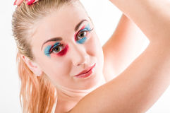 piękna uroda makijaż oczu charakteru naturalnej portret kobiety Obrazy Royalty Free