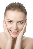 piękna zbliżenia twarzy kobieta Zdjęcie Royalty Free