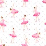 Piękne baleriny tanczą na polki kropki tła bezszwowym vect Zdjęcia Stock