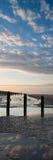 Pięknego wschodu słońca panoramy pionowo krajobraz odbijał w basenach Obrazy Stock