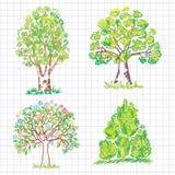 pięknej doodle zieleni ustaleni drzewa Fotografia Royalty Free