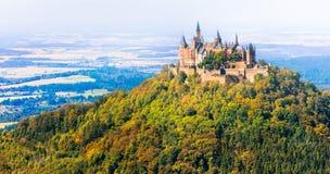 Piękni kasztele Europa, Hohenzoller - Niemcy Fotografia Stock