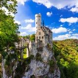 Piękni kasztele Europa, Lichtenstein - Niemcy Zdjęcia Royalty Free