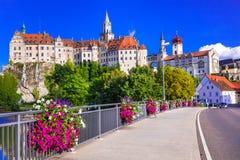 Piękni miejsca i kasztele Niemcy - malarski Sigmaringen Obrazy Royalty Free