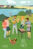 piknik Śliczna płaska Wektorowa ilustracja obsługuje i kobieta odpoczywa na łące przeciw tłu wiejski krajobraz ilustracji
