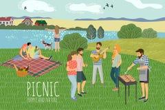 piknik ?liczna Wektorowa ilustracja obs?uguje i kobieta odpoczywa na naturze przeciw t?u wiejski krajobraz TARGET664_1_ ilustracji