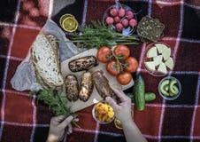 piknik Czerwona szkocka krata ?wiezi warzywa, chleb na kt?rym k?ama pyknicznego jedzenie, grill, kie?basy na ogieniu Sk?ad, ?wie? fotografia stock