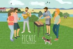 piknik ?liczna p?aska Wektorowa ilustracja obs?uguje i kobieta odpoczywa na naturze przeciw t?u wiejski krajobraz royalty ilustracja