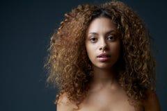 Piękny żeński moda model z kędzierzawym włosy Zdjęcia Royalty Free