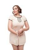 Piękny plus wielkościowej kobiety pomiarowa talia Fotografia Stock