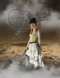 Piękny Steampunk kobiety Grunge tło Obraz Royalty Free