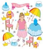 Piękny tło z dziewczyną i set dla twój małego Princess Zdjęcia Stock