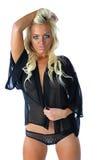 pięknych czarny blondynów odosobniona miś pluszowy kobieta Zdjęcie Stock