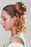 pięknych ślicznych fryzury kędziorków wzorcowy portreta profilu ślub Zdjęcia Royalty Free
