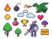 Piksel gry elementy Pixelated wojownik i 8 kawałków piksli smok Retro gier chmury, drzewa i ikona wektoru set, ilustracja wektor