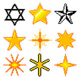 Piksel gwiazdy dla gier ikon wektoru setu Obraz Stock
