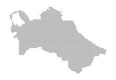 Piksel mapa Turkmenistan Wektor kropkował mapę Turkmenistan odizolowywał na białym tle Abstrakcjonistyczna komputerowa grafika Tu ilustracja wektor