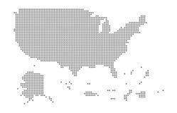 Piksel mapa usa terytorium Wektor kropkował mapę usa terytorium odizolowywający na białym tle Abstrakcjonistyczna komputerowa gra Fotografia Royalty Free
