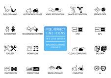 Piksel perfect cienieje kreskowe ikony i symbole dla maszynowego uczenie, głębokiego uczenie, sztucznej inteligenci/ ilustracja wektor