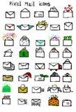 Piksel poczty ikony ustawiać ilustracja wektor